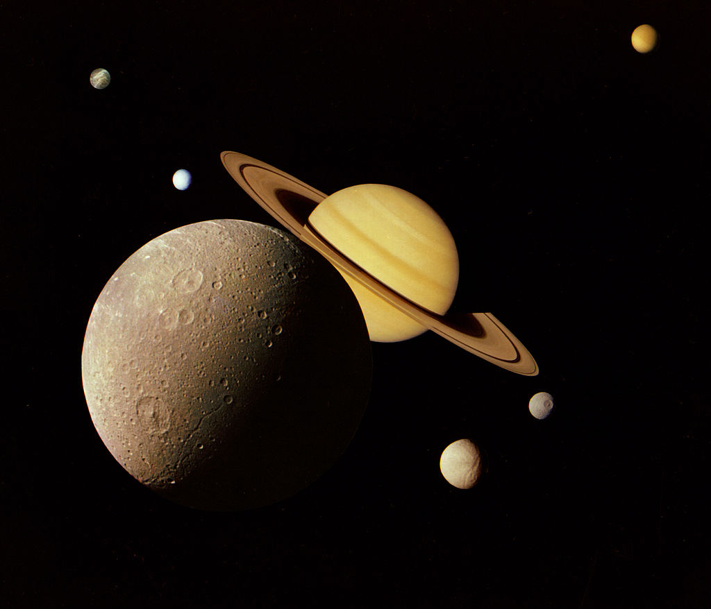 Saturn And Moons Montage