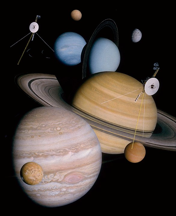 Montage Of The Planets And Moons Visited By Voyager Probes
