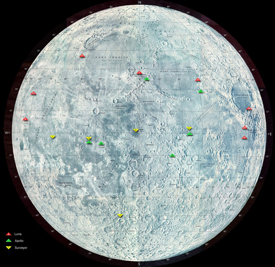 Luna Missions On Moon